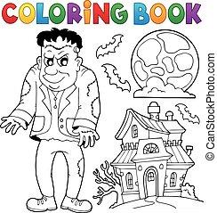 frankenstein, tema, libro colorante
