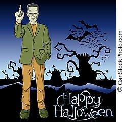 frankenstein, vettore, halloween, cartone animato
