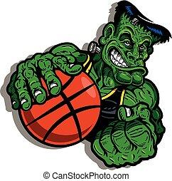 muscular frankenstein's monster mascot playing basketball for sporting event
