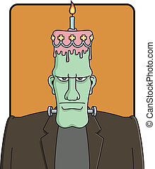Frankenstein%u2019s Birthday - Vector cartoon of Frankie%...