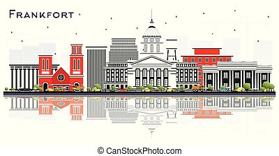 Frankfort Kentucky USA City Skyline with Gray Buildings and Reflections Isolated on White. Vector Illustration. Business Travel and Tourism Concept with Modern Architecture. Frankfort Cityscape with Landmarks.