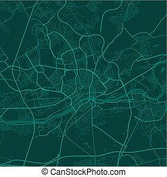 frankfurt., ポスター, 芸術, illustration., ベクトル, 通り 地図