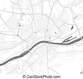 frankfurt., 都市, 都市, ベクトル, 通り, grayscale, map., 地図, poster.
