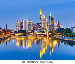 Frankfurt after sunset - Frankfurt am Mine at night, Germany