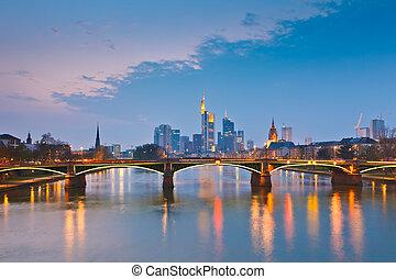 frankfurt am main, an, dämmerung, deutschland