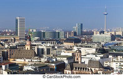 Frankfurt am Main city skyline, view from above