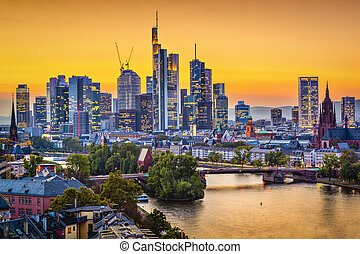 Frankfurt, Germany skyline on the Main River.