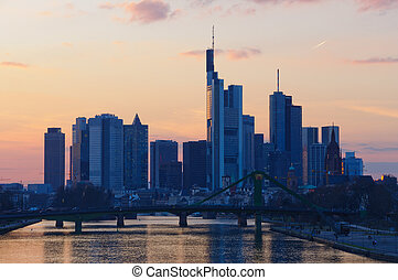 Frankfurt am Main, Germany at dusk