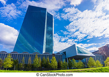 FRANKFURT AM MAIN, GERMANY - SEPTEMBER 19, 2015: new modern building of the European Central Bank, ECB in Frankfurt