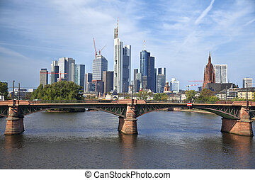 Frankfurt am Main. - Image of Frankfurt skyline during sunny...