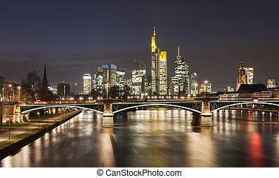 Frankfurt at night - Frankfurt am Main city skyline night...