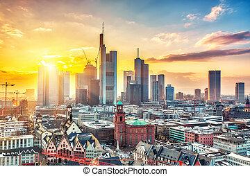 Frankfurt at sunset