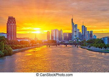 Frankfurt at sunset - Frankfurt am Mine at sunset, Germany