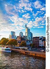 Frankfurt cityscape at sunset