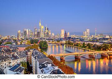 Frankfurt, Germany city skyline over the Main River.