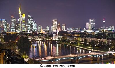Frankfurt Germany - Time Lapse of the Financial District of...