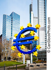 Euro Sign. European Central Bank (ECB) is the central bank for the euro and administers the monetary policy of the Eurozone