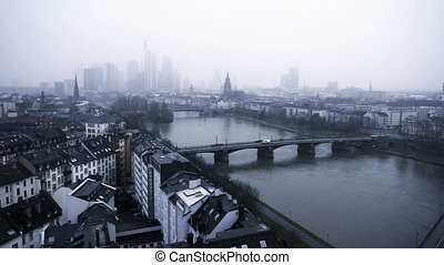 Frankfurt Germany Maine River and Business Towers in Snowy...