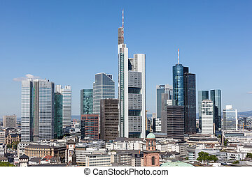 Frankfurt Main downtown, Germany - High angle view of the...
