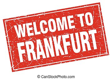 Frankfurt red square grunge welcome to stamp