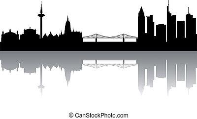 Frankfurt Skyline abstract on white Background