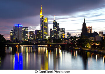 FRANKFURT, GERMANY - AUGUST 22: The Frankfurt skyline in early evening on August 22, 2012 in Frankfurt, Germany. Frankfurt is the largest financial center in continental Europe.