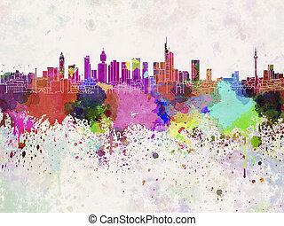 Frankfurt skyline in watercolor background