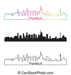 Frankfurt skyline linear style with rainbow in editable...