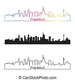 Frankfurt skyline linear style with rainbow in editable vector file