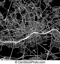 Frankfurt Vector Map, Artprint. Black Landmass, White Water...