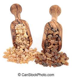 Frankincense and Myrrh - Frankincense and myrrh in olive...