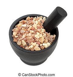 Frankincense and Myrrh - Frankincense and myrrh in a mortar...