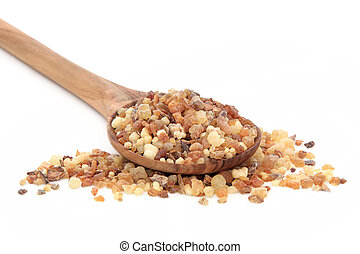 Frankincense and Myrrh - Frankincense and myrrh in an olive...