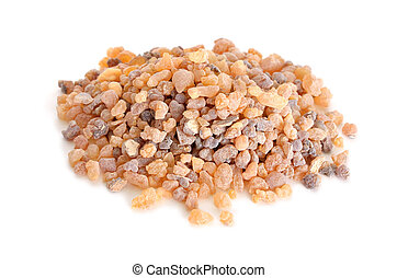 Frankincense olibanum resin. Isolated. - Frankincense...