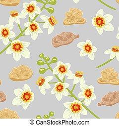 Frankincense seamless pattern. Boswellia tree flowers.