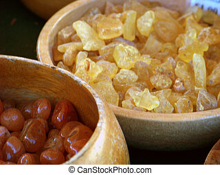 Frankincense resin in wooden bowl