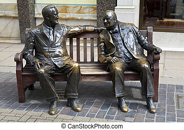 Statues of allies Franklin D. Roosevelt and Winston Churchill 'talking' to each other in London's Mayfair.
