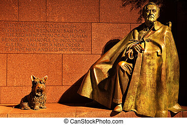 Franklin Delano Roosevelt Memorial and Statue with Fala, FDR's dog, Night Washington DC Sculptor is Neil Estern