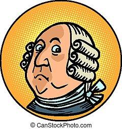 franklin, portret, benzoes, figura, historyczny, prezydent