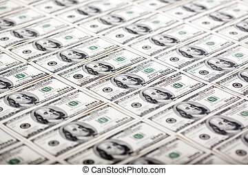 Franklins in a Row - Diagonal - A large quantity of 100 US$...