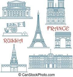 frankreich, dünne linie, wahrzeichen, russland