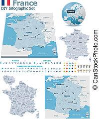 frankreich, karten, mit, markierungen