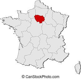 frankreich, landkarte, hervorgehoben, ile-de-frankreich