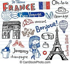 frankreich, symbole, als, funky, doodles