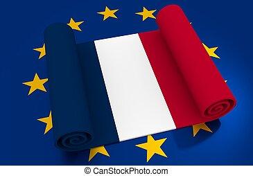 frankreich, und, european union, relationships., nexit, metapher