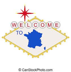 frankreich, willkommenes zeichen