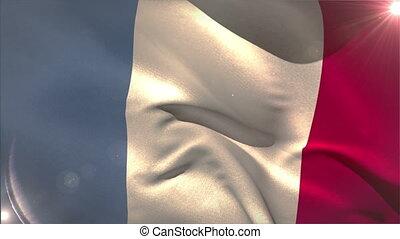 frankreich, winken markierung, national, groß