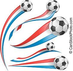 frankrijk, en, nederland vlag, set, met, voetbal