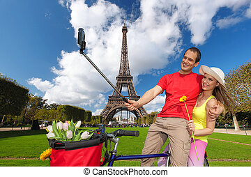 frankrijk, mensen, parijs, toren, selfie, boeiend, eiffel