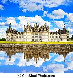 frankrijk, middeleeuws, weerspiegeling., chambord, de,...